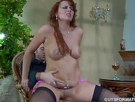 Glass of wine made red-haired Slovakian desire to saddle up young admirer's dick 11
