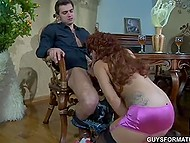 Glass of wine made red-haired Slovakian desire to saddle up young admirer's dick 9