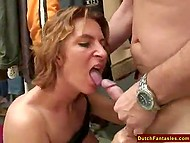 Owner of clothing store was so polite with Dutch MILF that she spread legs for him in dressing room 11