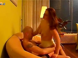 Bald-headed man receives blowjob from hot Dutch female and takes her juicy vagina