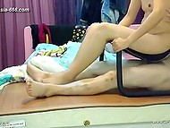 Chinese homemade video starring the couple that use sex chair to make love in cowgirl position 10