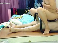 Chinese homemade video starring the couple that use sex chair to make love in cowgirl position 9