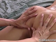 Big-boobied honeys started with languid massage but finished with lesbian petting 7