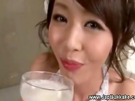 Japanese gokkun video: guys helped young whore to fill glass with cum and she drank it like a good wine 5