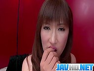 Japanese MILF sucks penis tenderly doesn't not spits sperm out but swallows it  11
