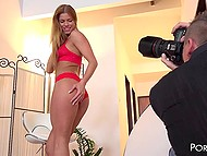Frivolous lass came to pal's apartment to take part in erotic photo shoot and guys used her for pleasure 4
