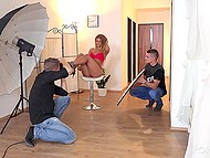 Frivolous lass came to pal's apartment to take part in erotic photo shoot and guys used her for pleasure 5