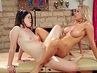 Masseuse always was lustful bitch and she couldn't resist in front of such a beautiful female body 8