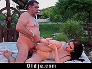 Eyes of capricious colleen were glowing with strong desire when older man mentioned the fucking