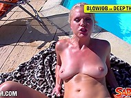 Blonde MILF interrupted sunbathing to make naughty things with cameraguy out-of-doors 10