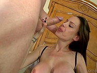 Partner shagged sumptuous goddess in stockings and covered immense knockers with sperm 7