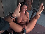 Brunette is masochist and she gets pleasure from pain and humiliation by her sadistic partner