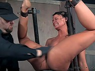 Brunette is masochist and she gets pleasure from pain and humiliation by her sadistic partner 7
