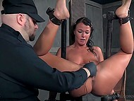 Brunette is masochist and she gets pleasure from pain and humiliation by her sadistic partner 9