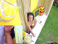 Girl is selling lemonade, while uncontrolled boyfriend turns her on and fucks behind the curtains 8