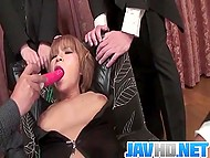 Gentlemen tied up whore in leather costume to play with hairy cunny and cum on her face 6