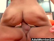 Big-tittied Latina hottie got feet covered with semen of hairless lad after good fucking 5