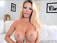 Big-tittied diva Courtney Taylor replaced man's penis with chrome vibrator in shaved pussy 5