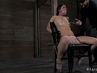 Lustful dude slowly cut the clothes of tied up girl and forced her to tremble with fear 10