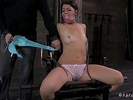 Lustful dude slowly cut the clothes of tied up girl and forced her to tremble with fear 8