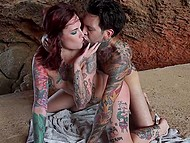 Tattooed bloke and red-haired colleen found a cozy grotto and adapted it for sexual games 11