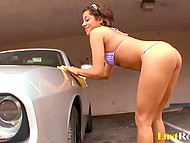 Latina with exotic tattoos finished to wash the car and came to muscular employer for the payment 4