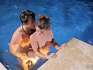 Wonderful evening provoked youngster and curly sweetheart to be intimate in the water 7