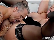 Cavalier forced big-boobied Italian Alura Jenson to squirt a few times having rough sex 4