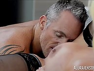 Cavalier forced big-boobied Italian Alura Jenson to squirt a few times having rough sex 6