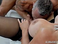 Cavalier forced big-boobied Italian Alura Jenson to squirt a few times having rough sex 9