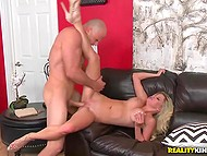 Muscular lovelace enjoyed blowjob by chesty babe with blonde hair and switched to fucking 9