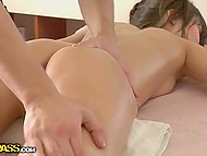 Slender babe with pigtail was affected by skilled masseur and desired to have sex 5