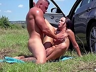 Blowjob by sexy Czech in the car and nice sex outdoors raise muscled dude's mood 10