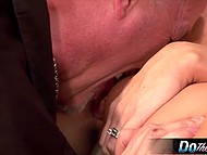 Happy husband was watching impressive wife with yummy hooters getting slammed by bald man 5