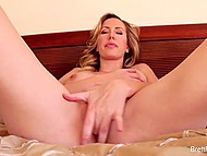 Elegant woman with curly hair exposed luxurious body and fingered pussy with joy 8