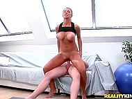 Tanned woman with shaved pussy likes when huge natural jugs shake having awesome sex 7