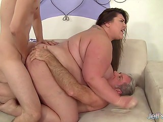 Old men gladly showed lustful BBW what double penetration and sperm mask are