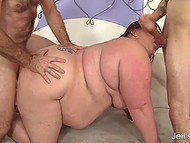 Old men gladly showed lustful BBW what double penetration and sperm mask are 8