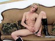 Small-waisted chick with blonde hair doesn't stop masturbating with sex toy trying to calm vagina down 11