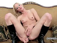 Small-waisted chick with blonde hair doesn't stop masturbating with sex toy trying to calm vagina down 8