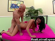 Latina wife wanted to take revenge on cheated husband so that's why she gave herself up to hairless mate 5