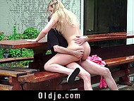 Minx made a pass at old man and he finally succumbed to temptation and fucked her outdoors 4