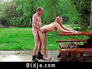 Minx made a pass at old man and he finally succumbed to temptation and fucked her outdoors 5