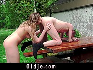 Minx made a pass at old man and he finally succumbed to temptation and fucked her outdoors 9