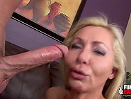 Adult blonde has been training for a long time and now she is giving a deep blowjob to her lover 10