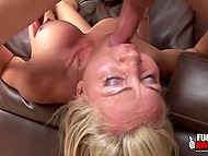 Adult blonde has been training for a long time and now she is giving a deep blowjob to her lover 6