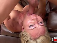 Adult blonde has been training for a long time and now she is giving a deep blowjob to her lover 7