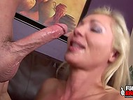 Adult blonde has been training for a long time and now she is giving a deep blowjob to her lover 9