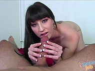 Seductive beauty with fleshy coconuts continuously plays with excited penis in the POV video 4