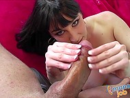 Seductive beauty with fleshy coconuts continuously plays with excited penis in the POV video 8